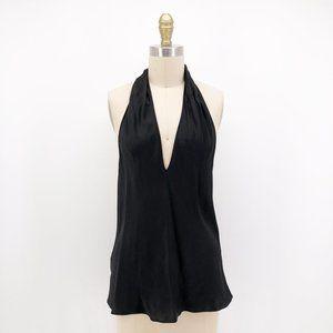 Vintage Tops - Vintage Lore Silk Satin Halter Top Blouse Backless